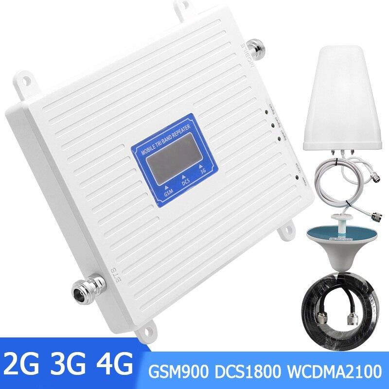 Amplificateur de Signal 2G 3G 4G Tri bande GSM 900 B1 WCDMA 2100 DCS LTE 1800 bande 3 répéteur de Signal de téléphone portable amplificateur cellulaire Mobile-