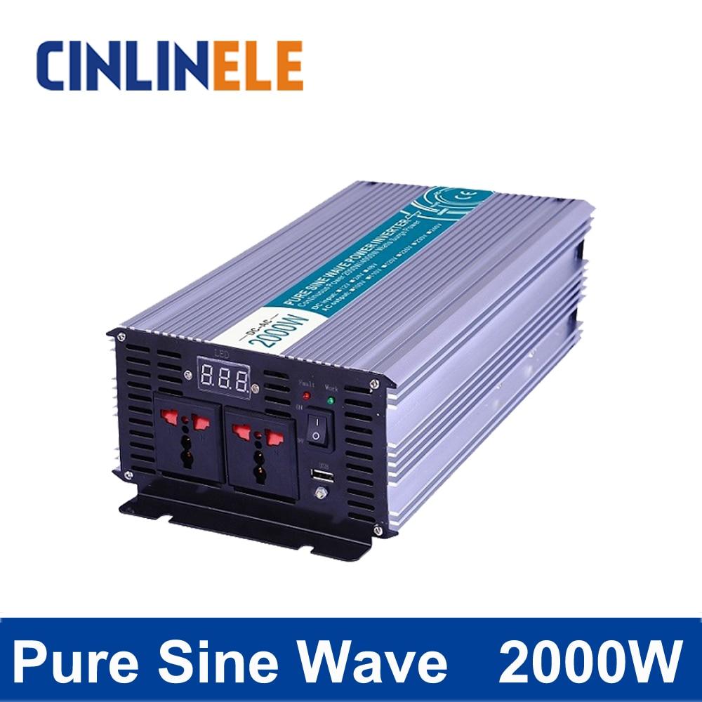 Pure Sine Wave Inverter 2000W CLP2000A DC 12V 24V 48V to AC 110V 220V 2000W Surge Power 4000W