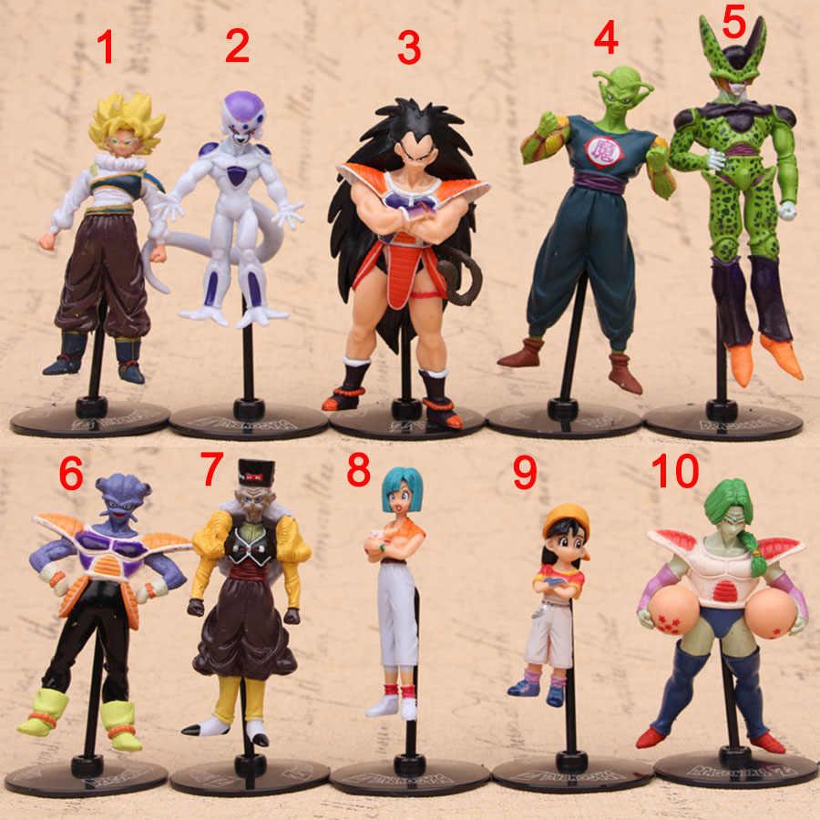 11X4cm 10 Estilos Dragon Ball Mini Moscas Bicicleta Goku Chichi Vegeta Dragon Ball Figura Meninos Brinquedo PVC modelo Anime Coleção Brinquedo do Miúdo