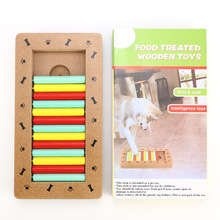 JORMEL Natural Food Treated Wooden Paw Shape Pet Dog Cat IQ Training Toys Educational Feeding Game Paw Puzzl Plate