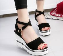 Summer 2019 Sandals Shoes Women Suede Leather Platform Sandals Shoes Peep Toe Beach sandals Thick Sole Black Shoes Female(China)