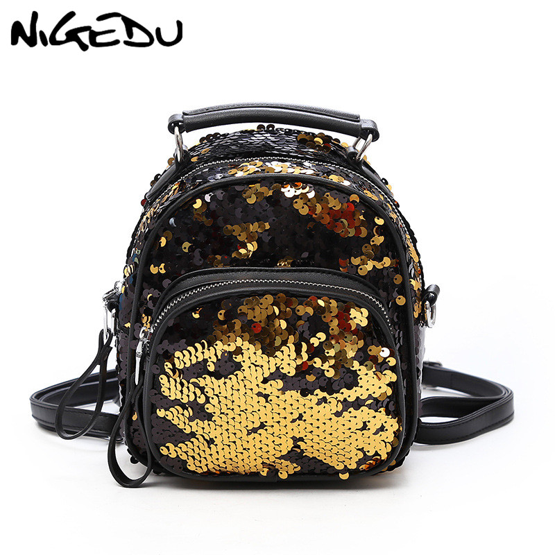 07f6fc71eb53 Multifunctional backpack female shoulder bag Small Sequins mini backpacks  for girls Crossbody Bags Princess Bling school bags