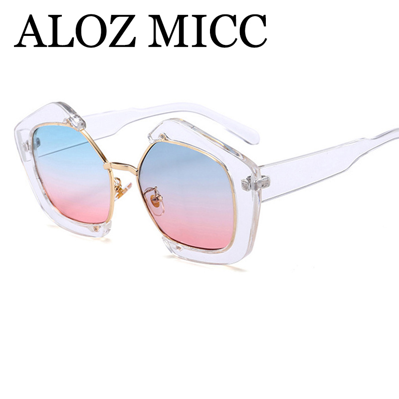 ALOZ MICC 2018 Trendy Half Frame Square Sunglasses Women Fashion Clear Brand Designer Sun glasses For Female Oculos de sol Q345