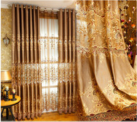 European style hollow water soluble embroidery cloth embroidered gauze gauze window gold custom living room bedroom curtains