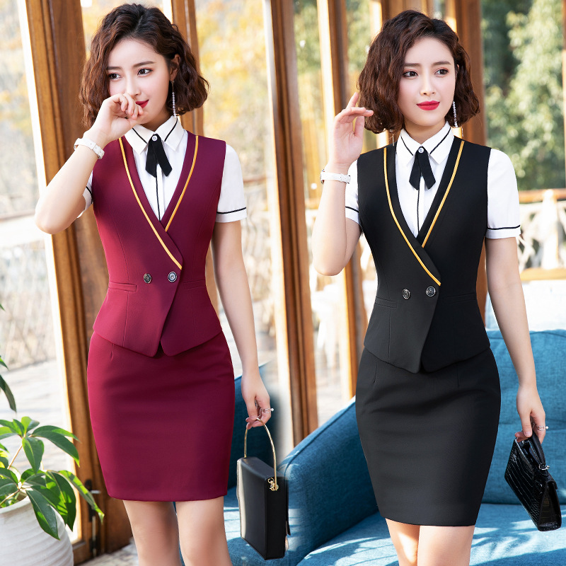 IZICFLY New Style Summer Women Suit Skirt And Tops Vest Waistcoat Office Uniform Lady Formal Skirt Suit Wear For Work Plus Size