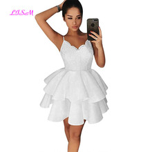 2018 New Arrival Sweetheart Straps A Line Short Homecoming Dresses Lace Satin Prom Dress Ruffled Tiered Mini Party Gowns