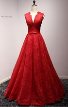 Long Red A Line Evening Dresses 2017 Lace Up Formal Evening Gowns For Wedding Party Prom Dresses Real Pictures In Stock