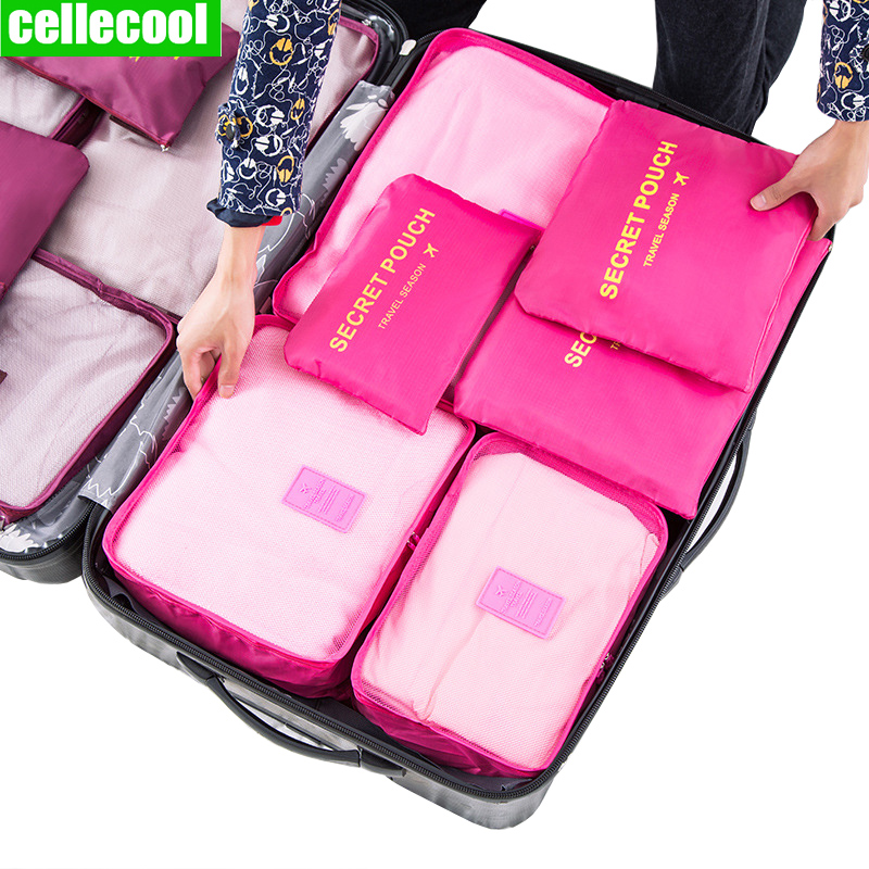6 PCS Travel Storage Bag Travel Bag Clothes Tidy Organizer  Suitcase Pouch Travel Organizer Bag Case Shoes Packing Cube Bag
