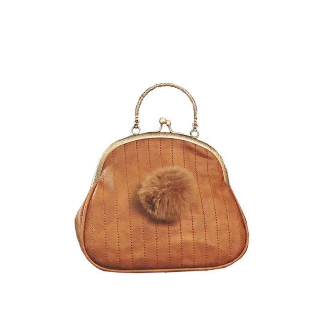 2017 Vintage Women Bags Shell Shape Totes Pu Leather Woman Handbag Fashion Fur Ball Handbag Chains Shoulder Bags 4 color ZD562