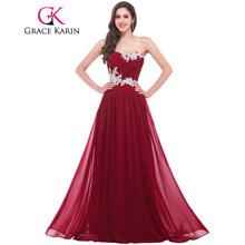 Grace Karin Long Bridesmaid Dresses 2017 Beading Sequins Floor Length Sweetheart Green Red Pink Blue Robe De Soiree Prom Dress