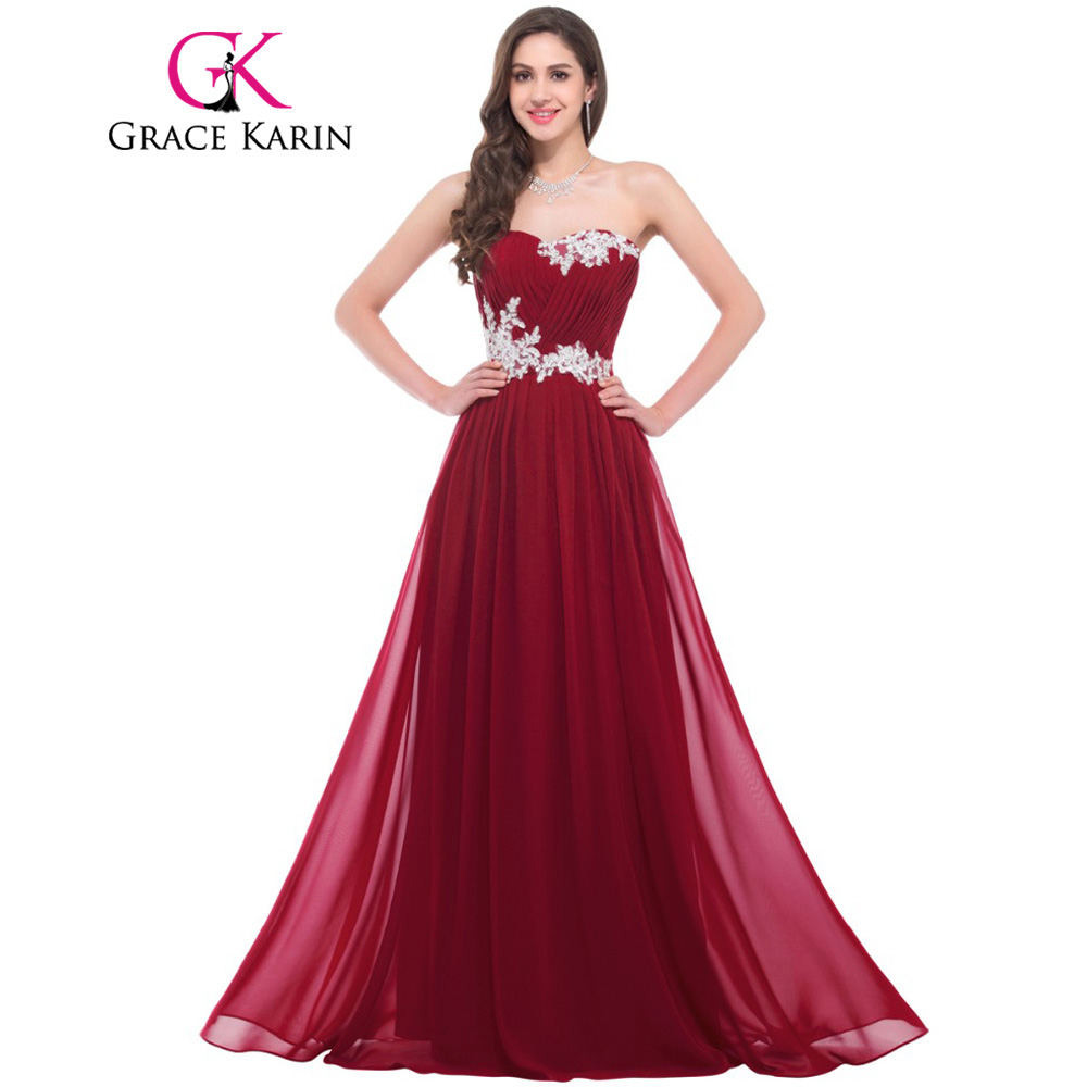 Grace Karin Long Bridesmaid Dresses 2018 Beading Sequins Floor Length Sweetheart Green Red Pink Blue Robe De Soiree Prom Dress