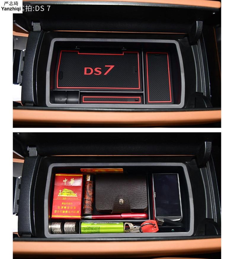 Armrest Storage Box for DS 2018 DS7 Armrest Center Storage Box Container Glove Organizer Case door lock cover