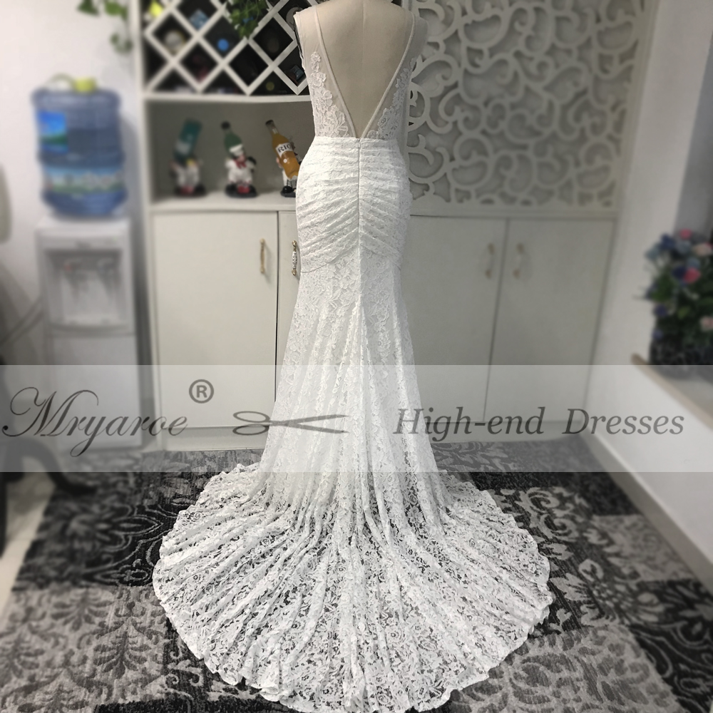 Mryarce Sleeveless Full Lace Mermaid Wedding Dress Rustic Open Back Bridal  Gowns With Pockets-in Wedding Dresses from Weddings   Events on  Aliexpress.com ... 3784fbfc06ed