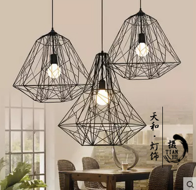 Loft American retro industrial iron cage pendant light personality cafe bar Nordic creative Diamond Pendant цена и фото