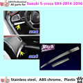 For Suzuk1 S-cross SX4 2014 2015 2016 inner cover frame stick stainless steel Middle Glove box front trim lamp trim panel 2pcs