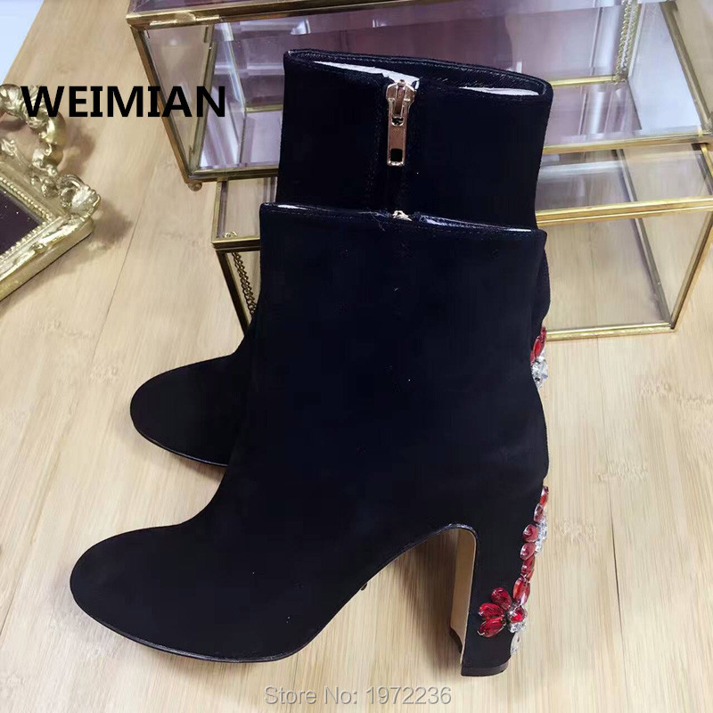 WEIMIAN 2016 Brand Latest Women Boots Real Leather Shoes Woman Nubuck Leather Luxury Rhinestone Ankle Boots Square High Heels