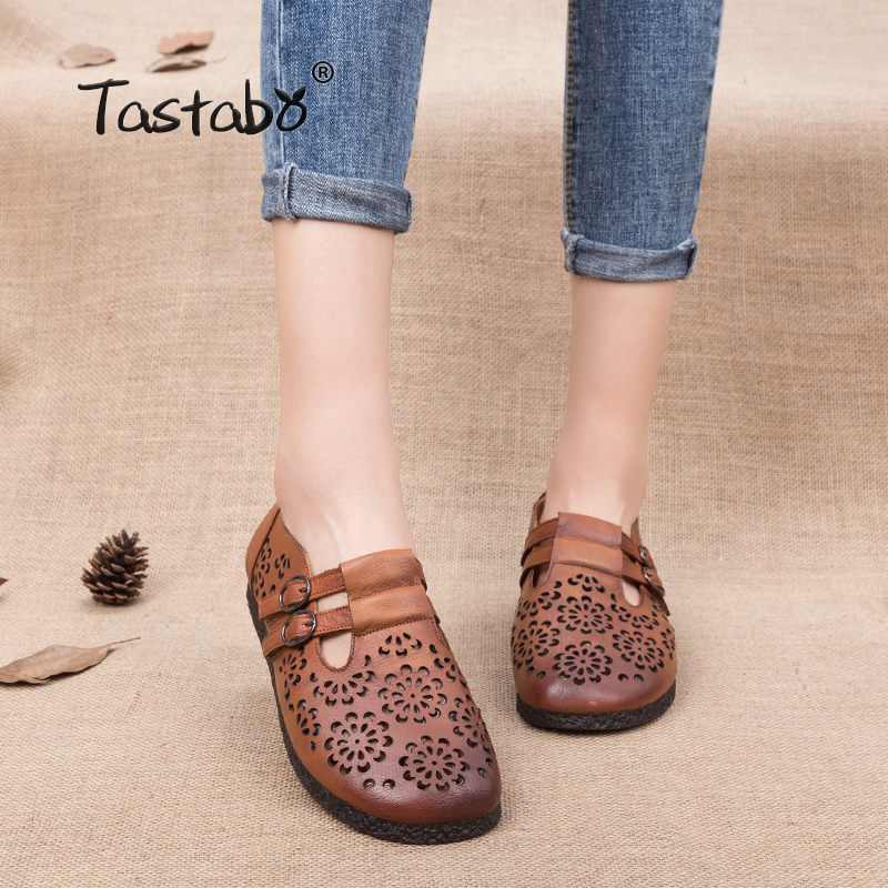 Tastabo Summer Floral Pleated Shoes Female Genuine Leather Flats 2018 Fashion Women Hollow Out Slip-on Nurse Peas Loafer Flats whensinger 2017 woman shoes female genuine leather flats slip on summer fashion design f927