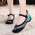 Chinese National Women's Flats Ladies Old Peking Flower Embroidery Soft Sole Casual Cloth Canvas Dance Single Shoes