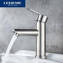 Ledeme torneira da bacia de aço inoxidável torneira do banheiro misturadora único furo água quente e fria clássico bacia torneiras l71003