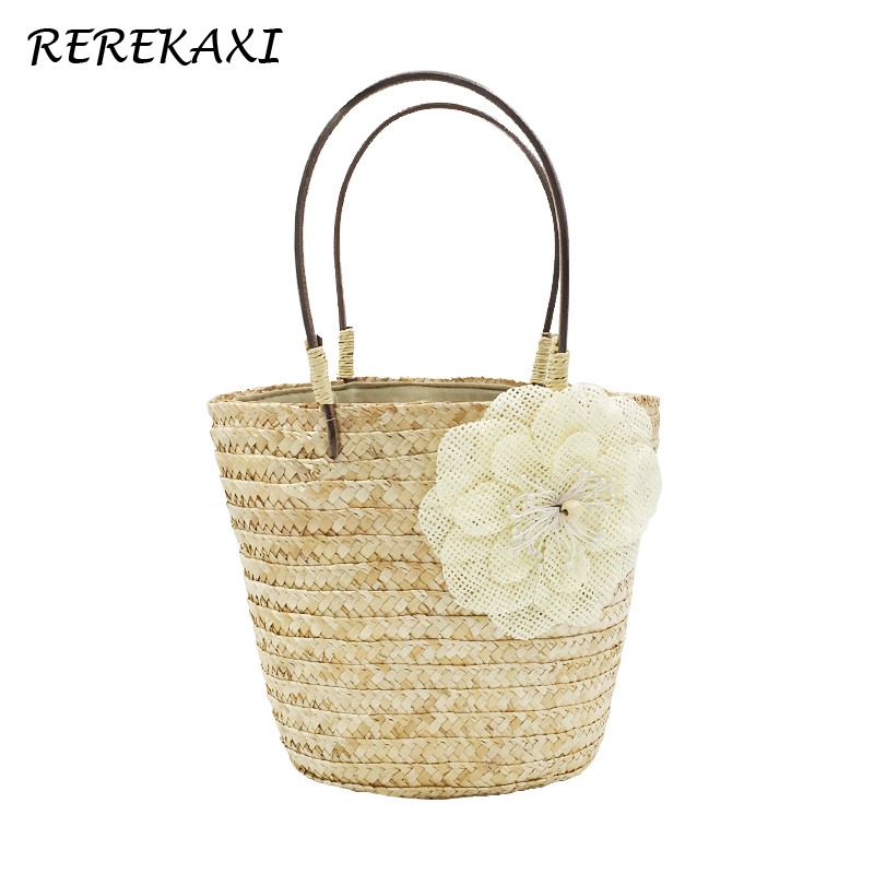 <font><b>REREKAXI</b></font> Summer Bohemian Straw Bag Wheat Pole Weave Woman's Handbag Fashion Flower Shoulder Bag Lady's Beach Bags Travel Totes image