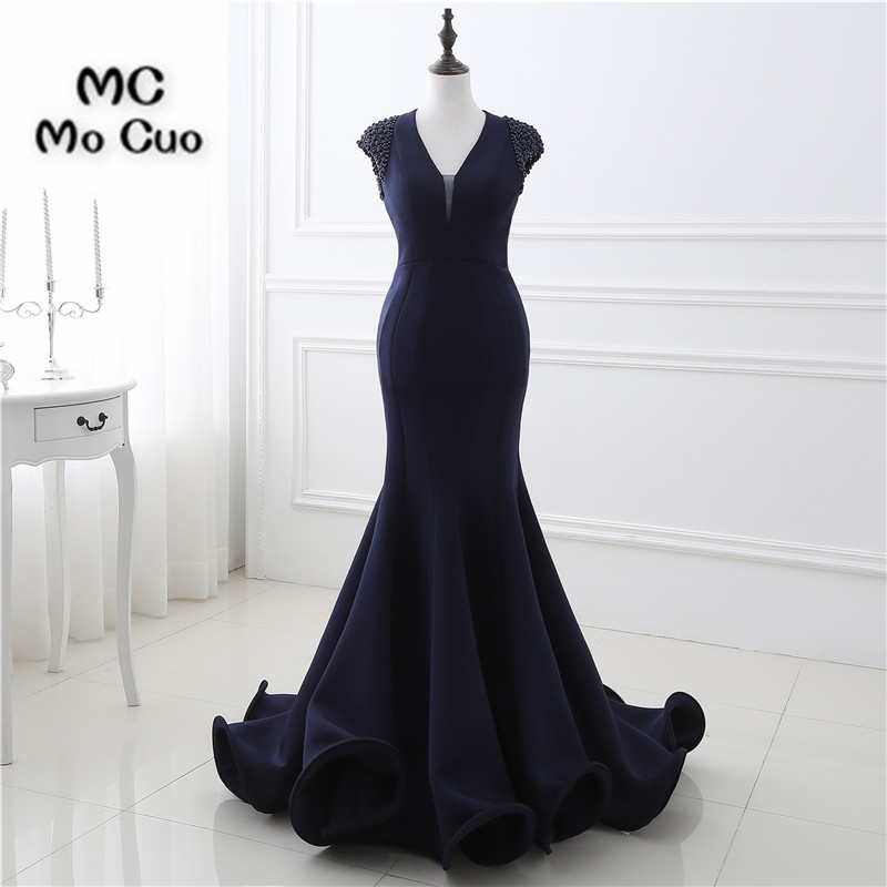 Real 2017 Dark Blue Prom Dresses Long Ruffles Beaded Cap Sleeve