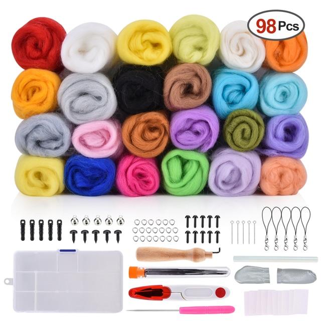 7/24/36/50 Colors Wool Felt Craft Kit Needle Felting Starter Fabric Yarn Roving DIY Spinning Sewing Mold Needlework Accessories