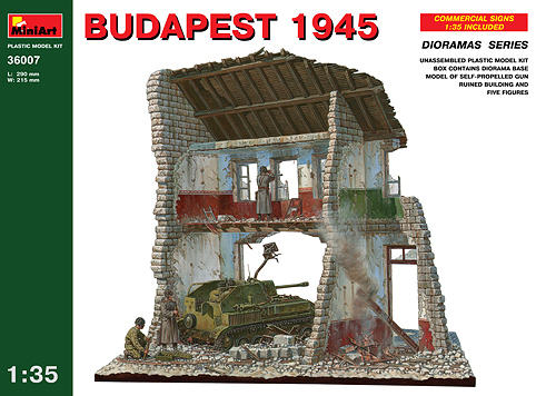 Assembly of Building MiniArt Scene Model 36007 1/35 Soviet Hungary Budapest Xiang Battlefield Blocks building soviet citizens with american tools