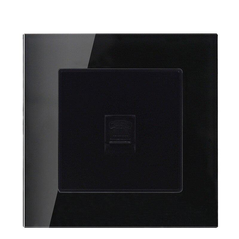 Купить с кэшбэком 1gang Luxury Crystal Glass Panel Telephone Wall Power Socket Telephone Socket Electrical Socket Switch Free Shipping