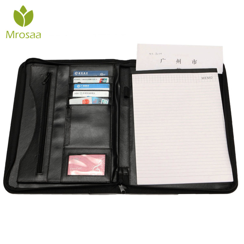 A4 Clipboard Folder Portfolio Multi-function PU Leather Organizer Sturdy Office Manager Clip Writing Pads Legal Paper Contract