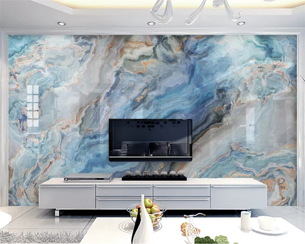 Beibehang Custom Silky Wallpaper Fashion Classic Blue Abstract Ink Landscape Stone TV Background Wall Papers Home Decor Tapety