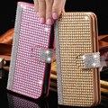 Completa del diamante de bling para iphone 6 6 s para iphone 6 Plus 6 S Plus Glitter Rhinestone Monedero PU Cubierta de Cuero Del Teléfono Móvil bolsas