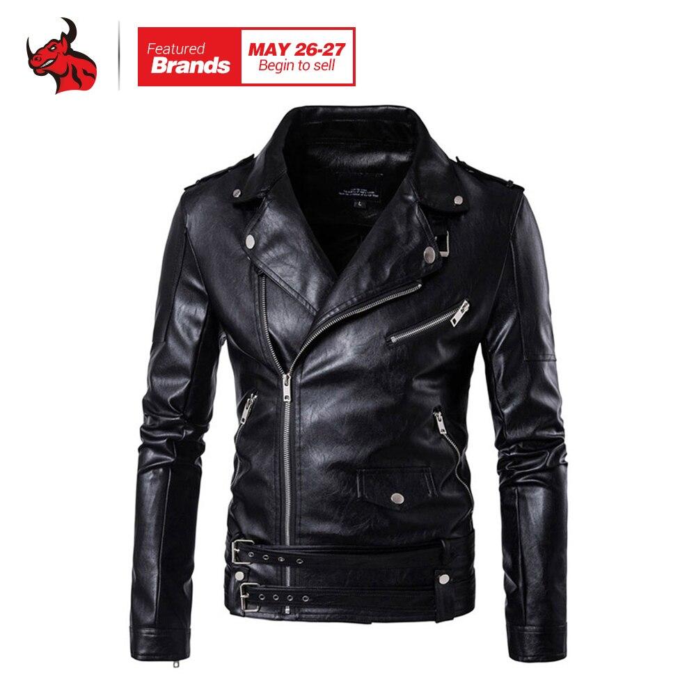 New Retro Vintage Faux Leather Motorcycle Jacket Men Turn Down Collar Moto Jacket Adjustable Waist Belt Jacket Coats faux leather moto jacket with buckle belt