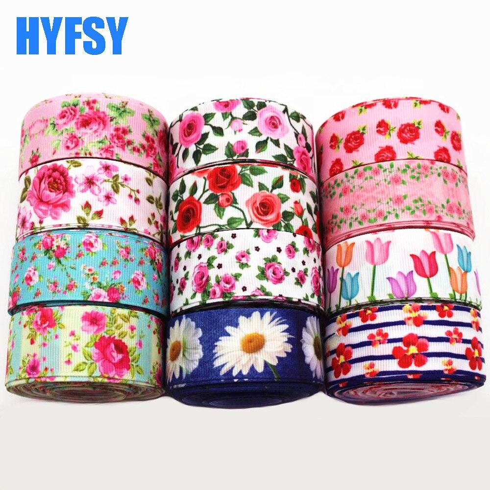 Hyfsy 10061 мм 25 мм цветок лента 10 ярдов рукоделие Подарочная упаковка головные уборы вручную изготовленная лента материалы Grosgrain ленты Свадебные