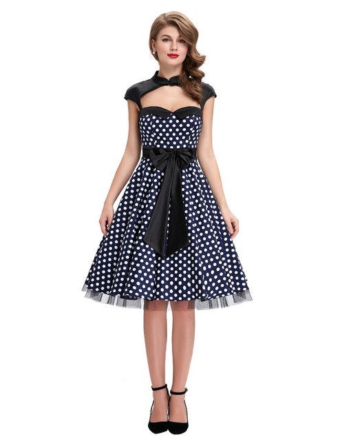 Womens summer dresses 2016 summer style 50s Vintage Polka dot dress swing plus size robe Sexy club Casual Party Dresses vestidos