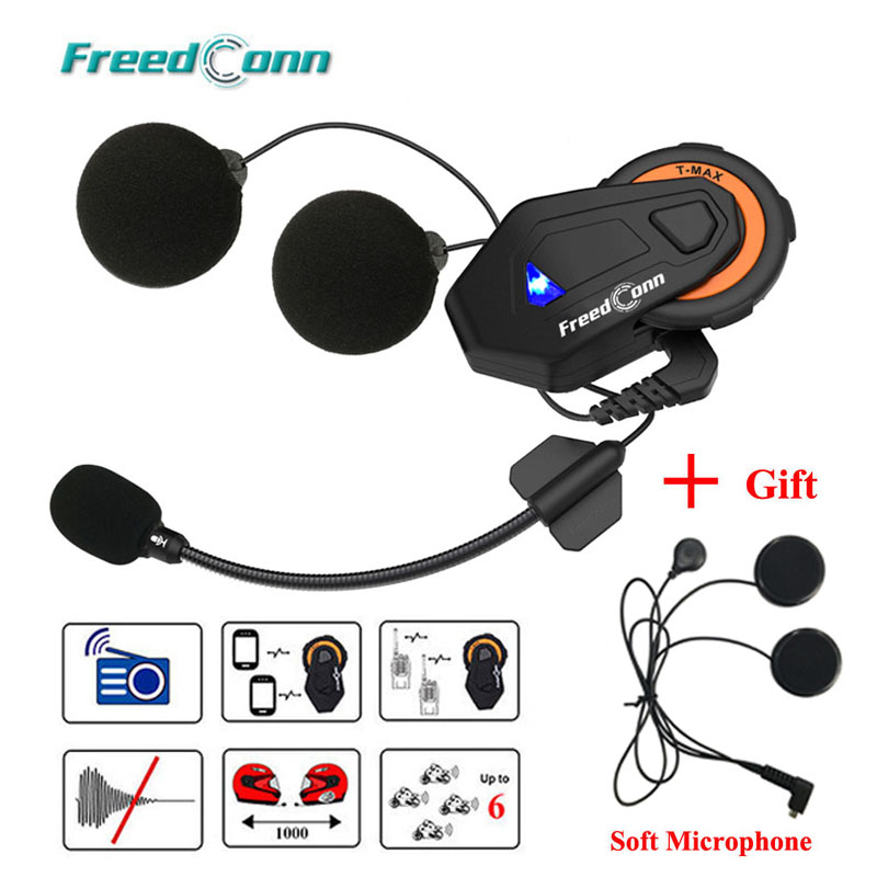 Freedconn T-max Motorcycle Intercom Helmet Bluetooth Headset 6 Riders Group Talking FM Radio Bluetooth 4.1 + Soft Earpiece