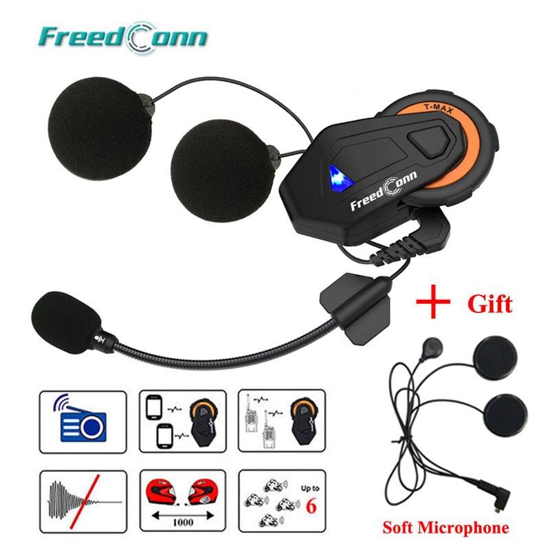 Freedconn T-max intercomunicador de motocicleta casco Bluetooth auriculares 6 Riders grupo que habla Radio FM Bluetooth 4,1 + auricular suave