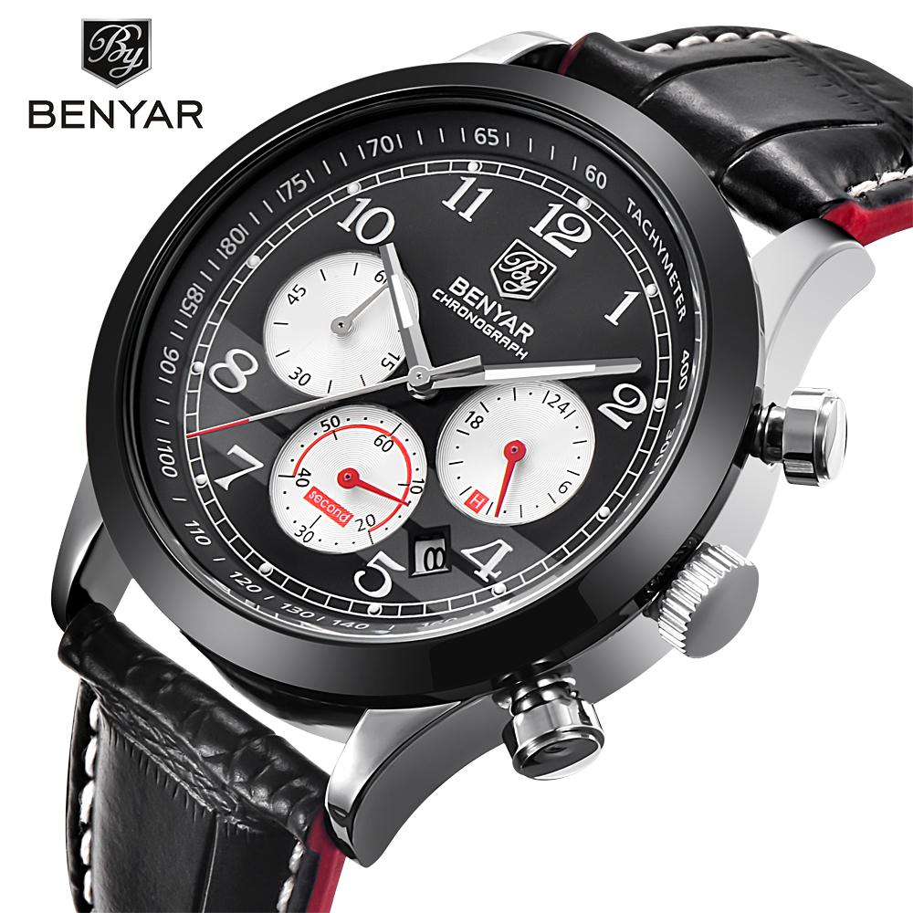 Men Watch Sport Pilot Chronograph Calendar 2017 Luxury Brand BENYAR Watches 3ATM Waterproof Quartz Wrist Watch Relogio Masculino hubot elegant classic men s watch dates calendar classical art carved craft design chronograph men sport watches relogios