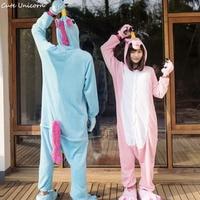 Blue Pink Purple Unicorn Animal Pajamas Winter Sleepwear Pegasus Unisex Adults Flannel Onesies Party Robe Cartoon