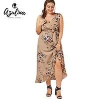 AZULINA Plus Size 4XL 5XL Women Dress Floral Print Summer Beach Casual Female V Neck Sleeveless