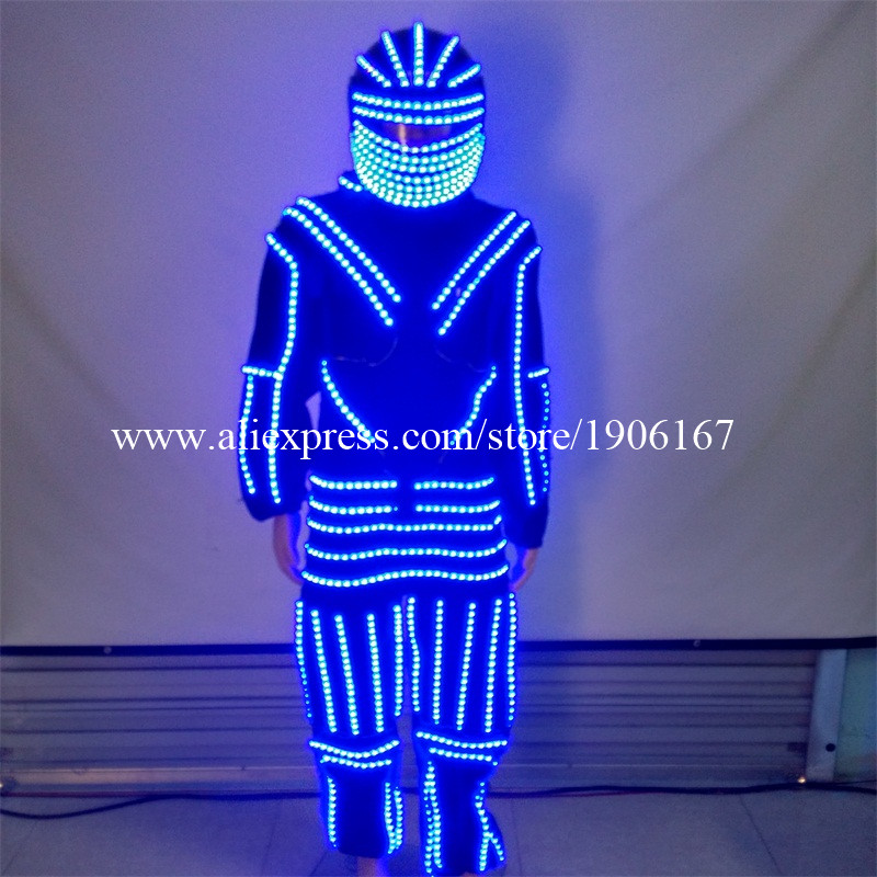 New Design LED Luminous Dance Costume Clothes With Led Helmet Glowing Robot Suits Stage Performance font