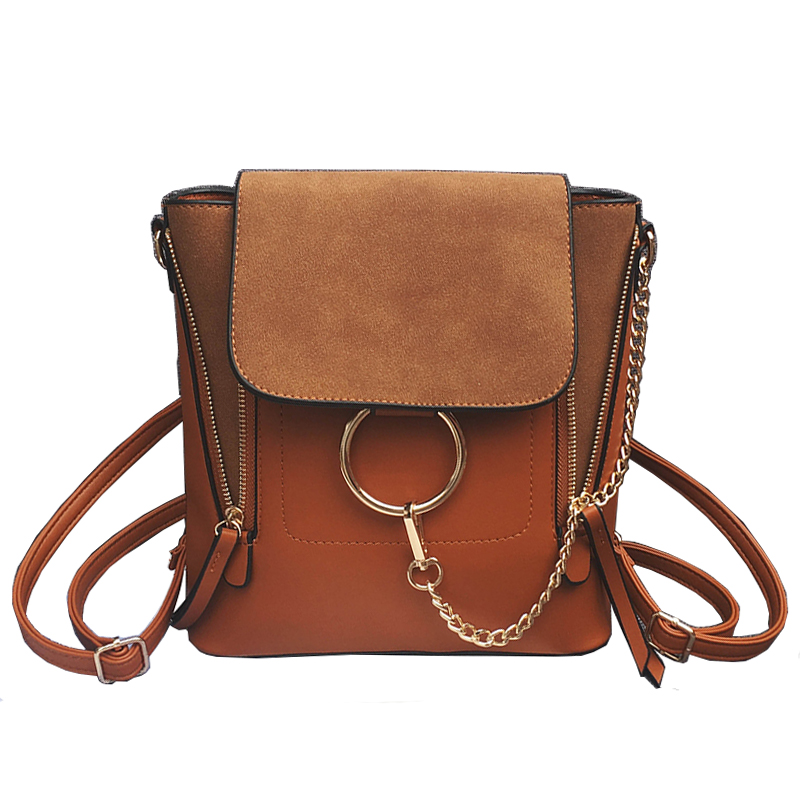 Double Zipper Chain Ring Shoulder Crossbody Bags For Women Vintage Nubuck Leathe