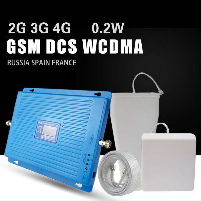 600m2 2g 3g 4g Amplificateur de Signal Cellulaire GSM 900 DCS LTE 1800 WCDMA 2100 mhz Répéteur 70dB gagner 4g LTE 1800 Amplificateur Antenne Ensemble