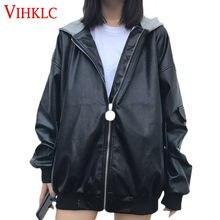 ec41ef2644b78 Uniforme de Baseball PU cuir femmes printemps automne 2018 nouvelle Version coréenne  veste de moto manteau à capuche lâche étudi.