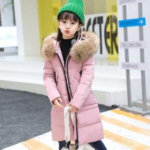 Image 2 -  30 derece kız giyim sıcak aşağı ceket kız elbise 2020 kış kalınlaşmak Parka gerçek kürk kapşonlu çocuk giyim mont