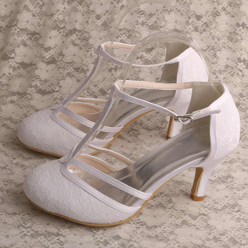 5c36db9fede Lace Sandals for Women Wedding T-strap Ivory Wedding Shoes for Bride 3 Inch