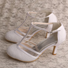 Lace Sandals for Women Wedding T-strap Ivory Wedding Shoes for Bride 3 Inch( d19d24029e9e