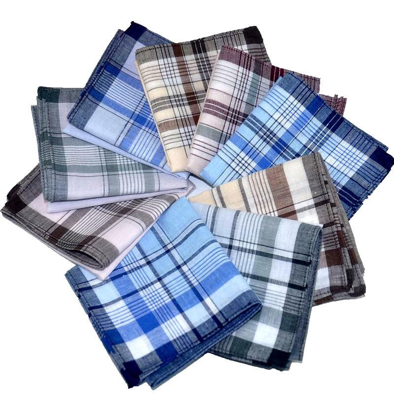 20pcs/lot Multicolor Plaid Stripe Men Pocket Squares 38*38cm Business Male Chest Pocket Hanky Handkerchiefs Cotton Hankies