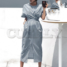 CUERLY Plus size cotton striped women dress Summer style bandage split female long Short sleeve office ladies
