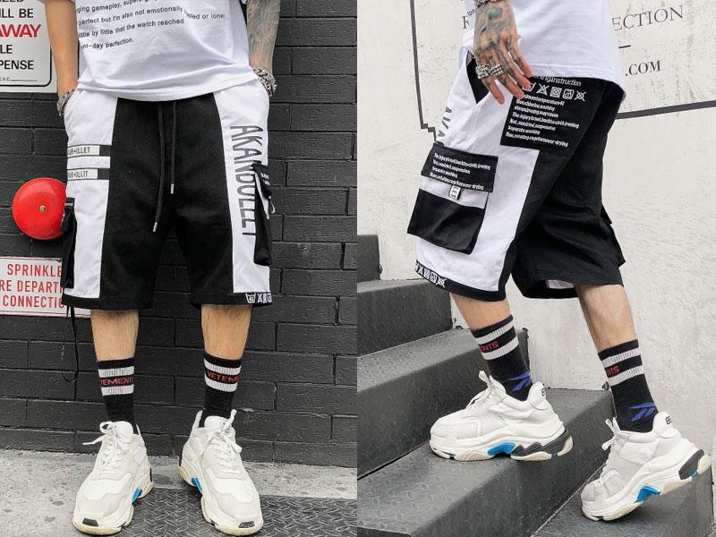 Side Ribbon Zipper Pockets Cargo Baggy Shorts 4