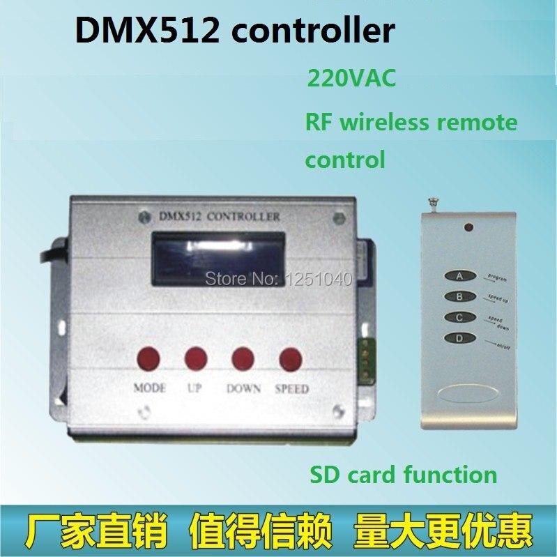 Télécommande RF, LED de contrôle DMX512 RGB, fonction carte SD, peut être commandé LED rondelle murale, projecteurs, lumière sous-marine